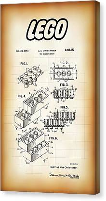 Lego Building Brick Patent 1961 Canvas Print by Daniel Hagerman