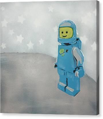 Lego Man On The Moon Canvas Print by Wall Kandi