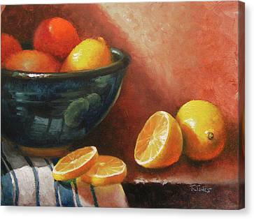 Lemons And Ceramic Bowl Canvas Print by Timothy Jones