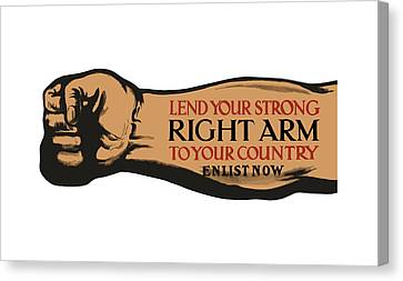 Lend Your Strong Right Arm To Your Country Canvas Print by War Is Hell Store