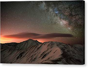 Lenticular Mountain Milky Way Canvas Print by Mike Berenson