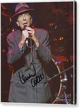 Leonard Cohen Autographed Canvas Print by Pd