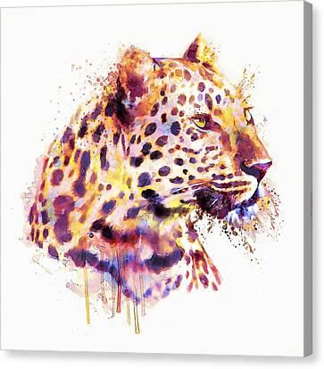Leopard Head Canvas Print by Marian Voicu