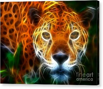 Leopard Watching At His Prey Canvas Print by Pamela Johnson