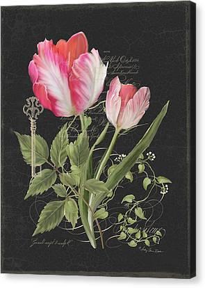 Les Fleurs Magnifiques En Noir - Parrot Tulips Vintage Style Canvas Print by Audrey Jeanne Roberts