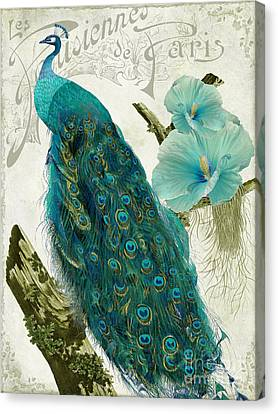 Les Paons Canvas Print by Mindy Sommers