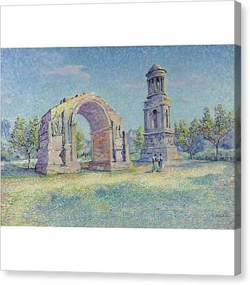 Les Ruines Romaines De Saint Canvas Print by Louis Gaidan