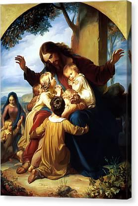 Let The Children Come To Me Canvas Print by Carl Vogel von Vogelstein