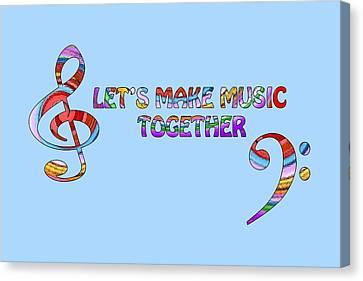 Let's Make Music - Blue Canvas Print by Gill Billington