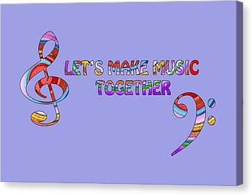 Let's Make Music Together - Lavender Canvas Print by Gill Billington