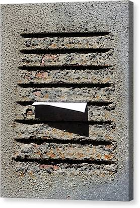 Letter In An Air Vent Canvas Print by Mikel Martinez de Osaba