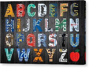 Letters Of The Alphabet Recycled Vintage License Plate Art With Apple Colorful School Nursery Kids Room Print Canvas Print by Design Turnpike