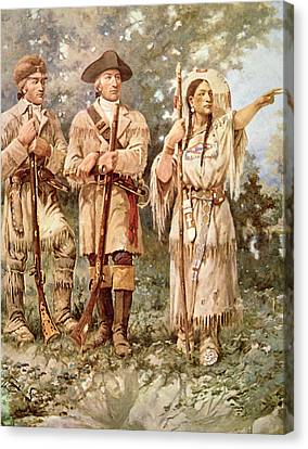 Lewis And Clark With Sacagawea Canvas Print by Edgar Samuel Paxson