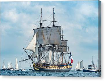 L'hermione Approaching Castine Canvas Print by Tim Sullivan