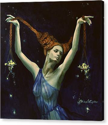Libra From Zodiac Series Canvas Print by Dorina  Costras
