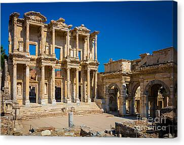 Library Of Celcus Canvas Print by Inge Johnsson