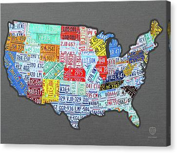 License Plate Map Of The United States Edition 2016 On Steel Background Canvas Print by Design Turnpike