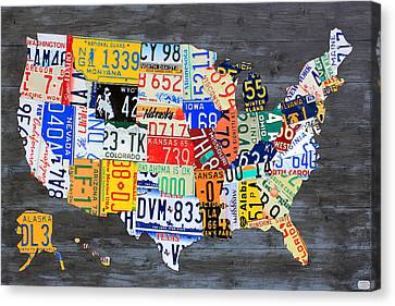 License Plate Map Of The Usa On Gray Distressed Wood Boards Canvas Print by Design Turnpike