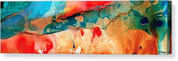 Life Eternal Red And Green Abstract Canvas Print by Sharon Cummings