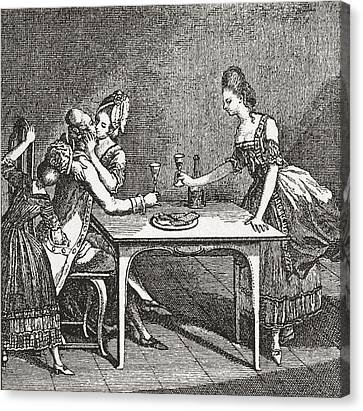 Life In A Berlin Brothel, 18th Century Canvas Print by Vintage Design Pics