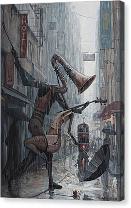 Life Is  Dance In The Rain Canvas Print by Adrian Borda