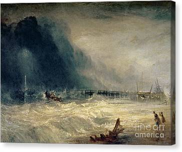 Lifeboat And Manby Apparatus Going Off To A Stranded Vessel Making Signal Of Distress Canvas Print by Joseph Mallord William Turner