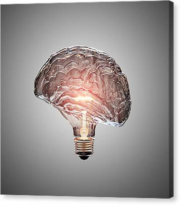 Light Bulb Brain Canvas Print by Johan Swanepoel