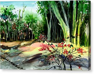 Light In The Woods Canvas Print by Anil Nene