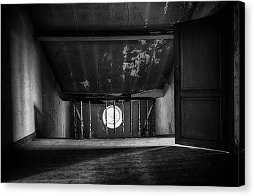 Light On The Attic - Abandoned Building Bw Canvas Print by Dirk Ercken