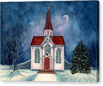 Light Shines On - Winter Country Church Canvas Print by Janine Riley