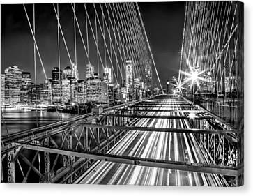Light Trails Of Manhattan Canvas Print by Az Jackson
