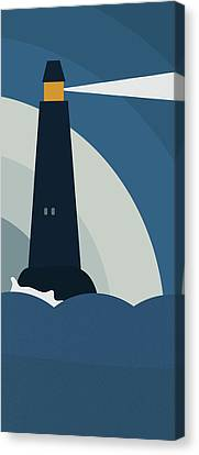 Lighthouse At Night Canvas Print by Frank Tschakert