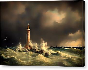 Lighthouse At Stora Balt Canvas Print by Mountain Dreams