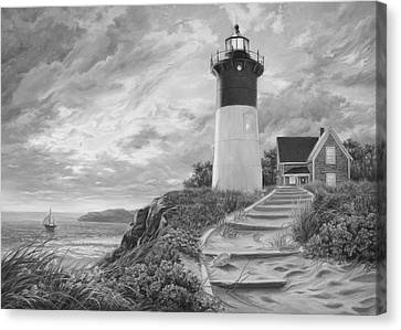Lighthouse At Sunset - Black And White Canvas Print by Lucie Bilodeau