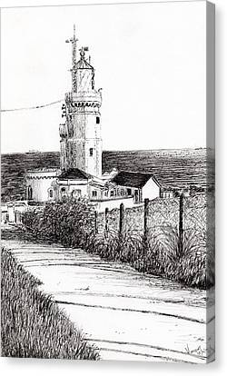 Lighthouse Isle Of Wight Canvas Print by Vincent Alexander Booth