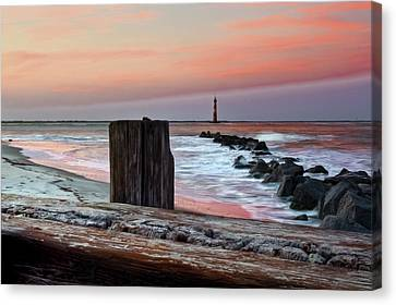 Lighthouse Jetties Canvas Print by Drew Castelhano