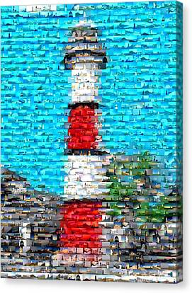 Lighthouse Made Of Lighthouses Mosaic Canvas Print by Paul Van Scott