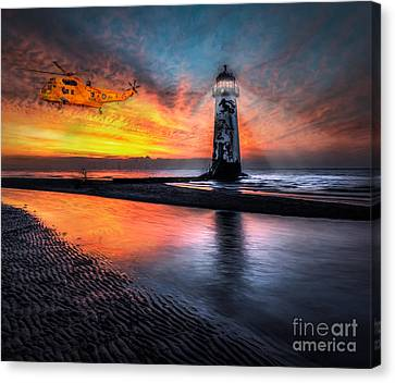 Lighthouse Rescue Canvas Print by Adrian Evans