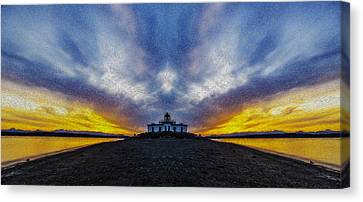 Lighthouse Sunset Reflection Oil Painting Canvas Print by Pelo Blanco Photo