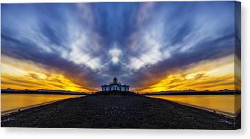 Lighthouse Sunset Reflection Canvas Print by Pelo Blanco Photo