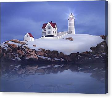 Lighting Of The Nubble Lighthouse Canvas Print by James Charles