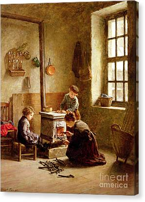Lighting The Stove Canvas Print by Pierre Edouard Frere