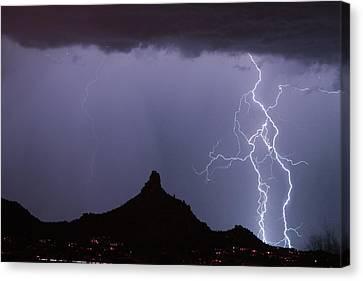 Lightnin At Pinnacle Peak Scottsdale Arizona Canvas Print by James BO  Insogna