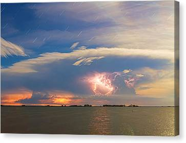 Lightning At Sunset With Star Trails Canvas Print by James BO  Insogna