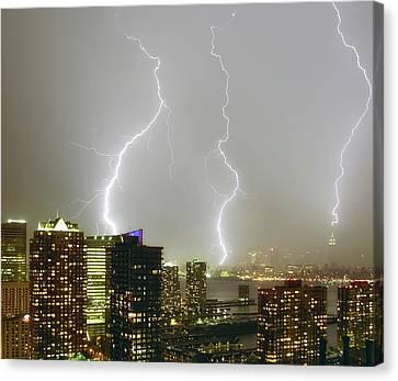 Lightning Dance Canvas Print by Photography by Steve Kelley aka mudpig