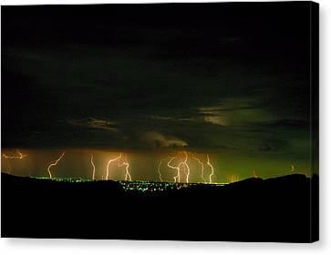 Lightning Over Denver Canvas Print by Jerry McElroy