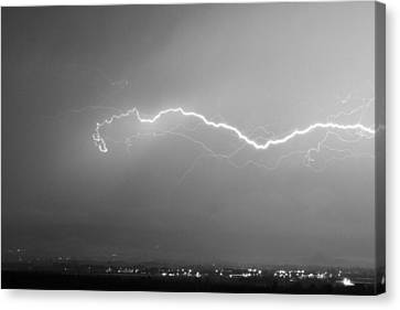 Lightning Over North Boulder Colorado  Ibm Bw Canvas Print by James BO  Insogna