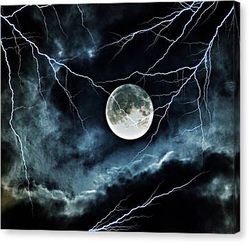 Lightning Sky At Full Moon Canvas Print by Marianna Mills