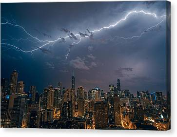 Lightning In Chicago Canvas Print by Adam Oles