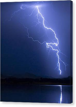 Lightning Strike In The Blue Night  Canvas Print by James BO Insogna